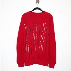 St. Croix Knits Red Abstract Sweater, Sz XXL